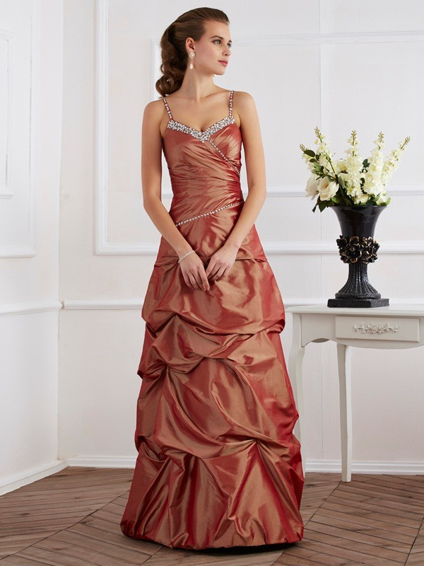 Chicregina Sheath Spaghetti Straps Taffeta Long Dress With Embroidery