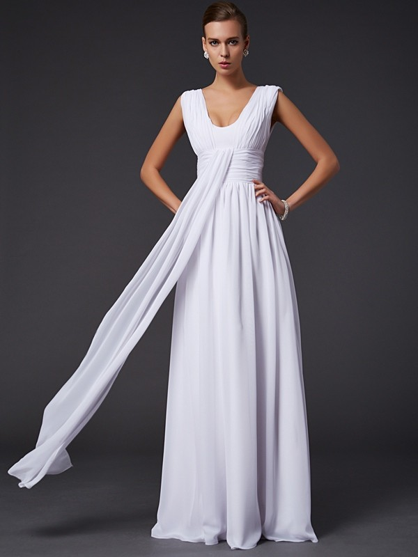 Chicregina A-Line Jewel Long Chiffon Dress With Beading Pleats