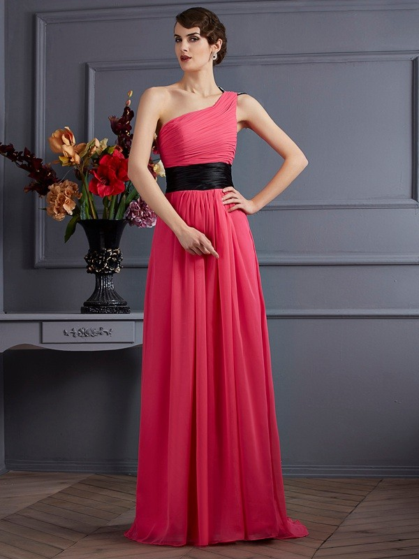 Chicregina A-Line One-Shoulder Chiffon Sweep Train Dress With Sash Pleats