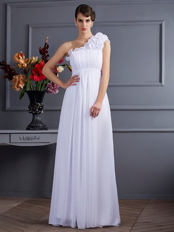 Chicregina A-Line One-Shoulder Chiffon Long Dress With Rhinestone Applique