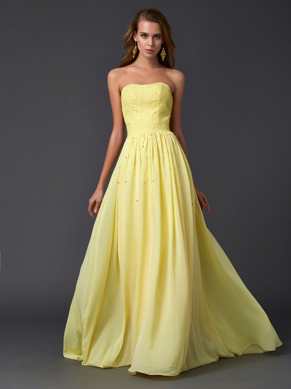 Chicregina Maxi A-Line Strapless Chiffon Sweep Train Dress With Beading