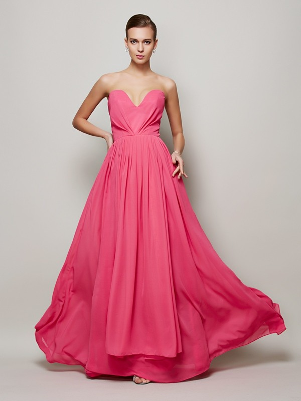 Chicregina Sleeveless A-Line Sweetheart Long Chiffon Dress With Sequin