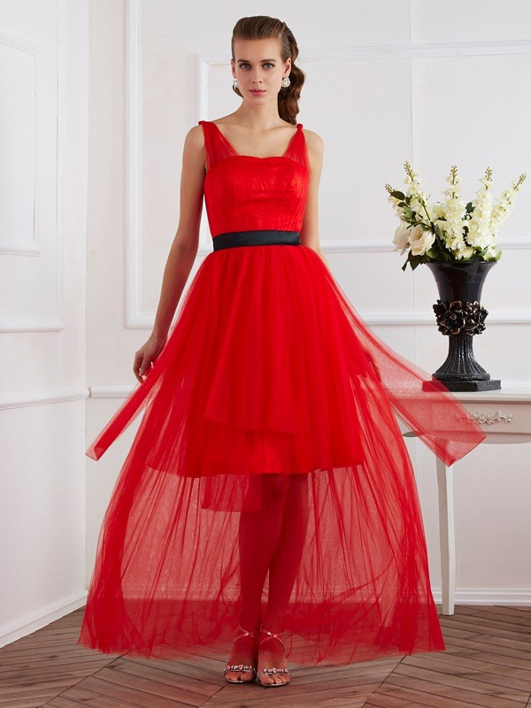 Chicregina A-Line Straps Ankle-Length Elastic Woven Satin Dress With Sash Pleats