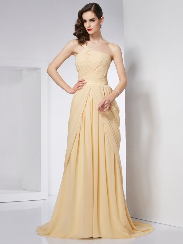 Chicregina A-Line One-Shoulder Chiffon Chapel Train Dress With Ruffles Pleats