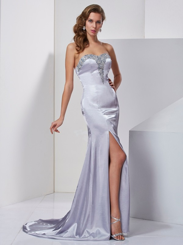 Chicregina A-Line Sweep Train Sweetheart Elastic Woven Satin Dress With Rhinestone