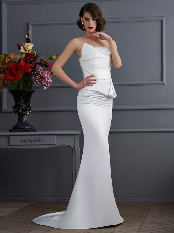 Chicregina Mermaid Strapless Sweep Train Satin Dress With Sash