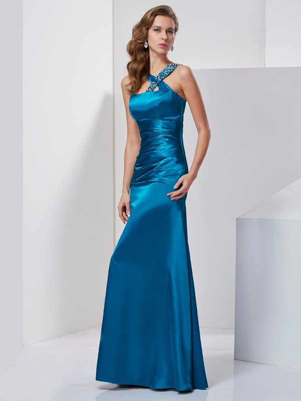 Chicregina Sheath Silk like Satin Straps Long Dress With Rhinestone