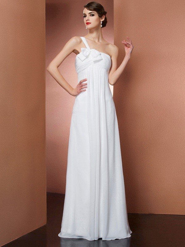 Chicregina A-Line One-Shoulder Long Chiffon Dress With Sash Bowknot