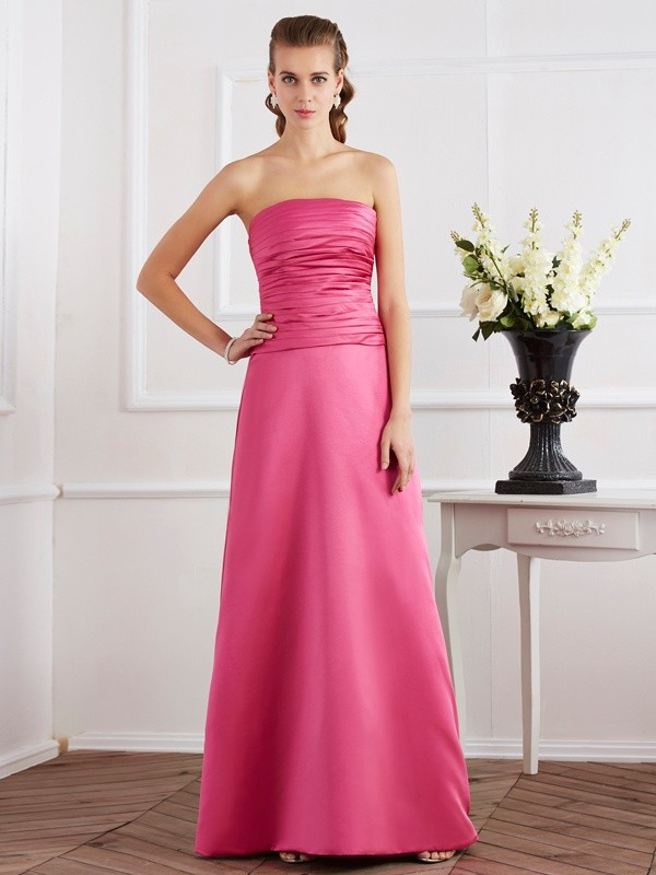 Chicregina Sheath Strapless Satin Long Dress With Beading Ruffles