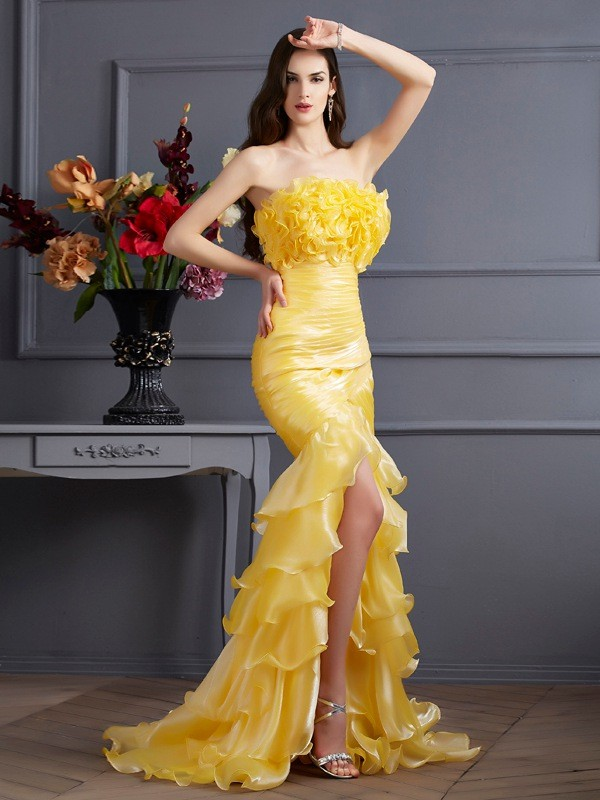 Chicregina Mermaid Strapless Sweep Train Tulle Dress With Sequin