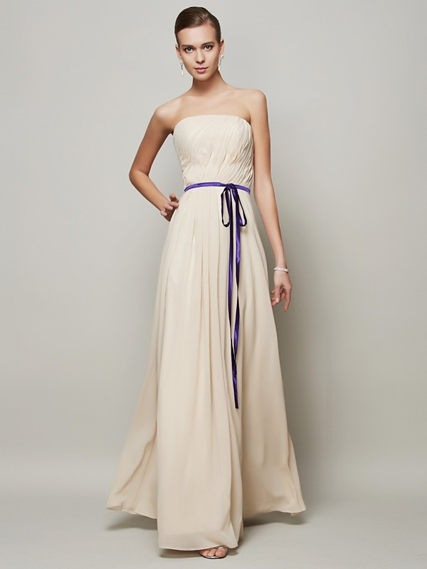 Chicregina A-Line Strapless Long Chiffon Dress With Beading