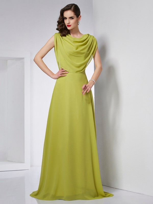 Chicregina A-Line High Neck Sweep Train Chiffon Dress With Beading Pleats