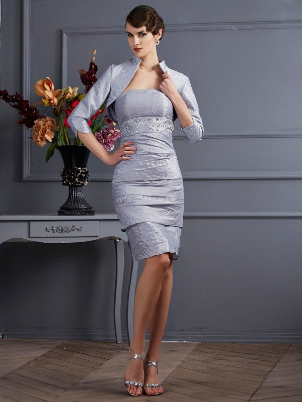 Chicregina Sheath Taffeta Strapless Knee-Length Dress With Embroidery