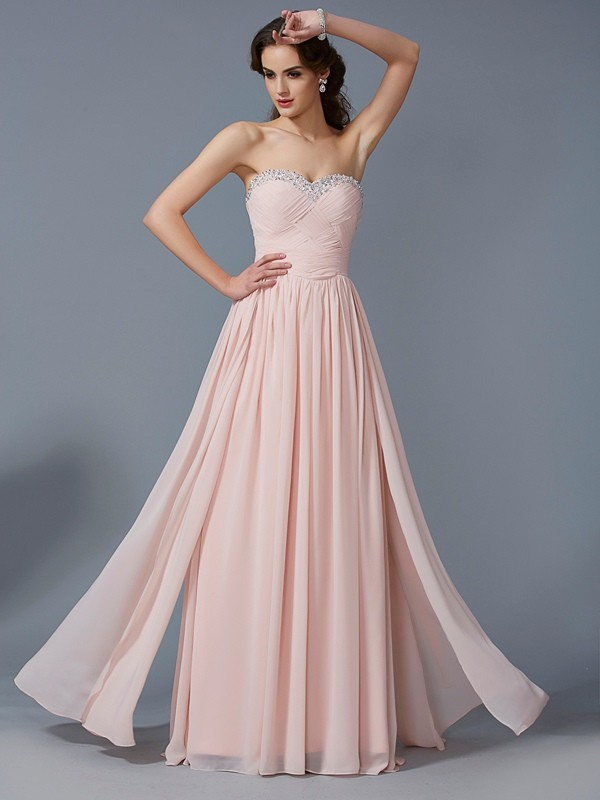 Chicregina A-Line Sweetheart Long Chiffon Dress With Beading Pleats