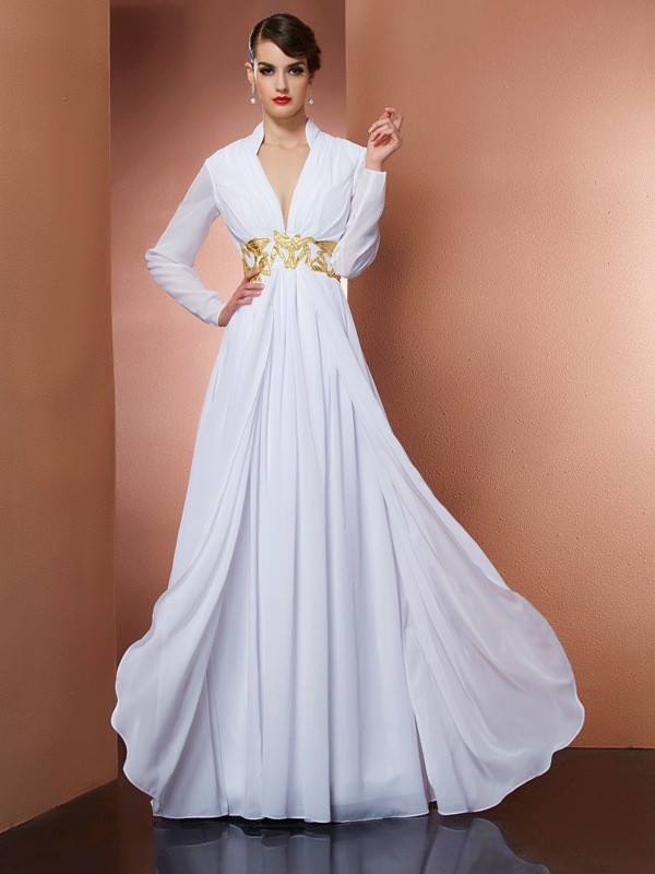 Chicregina A-Line V-neck Long Sleeves Long Chiffon Dress With Beading