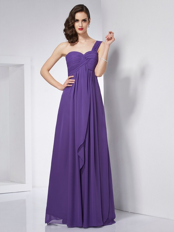 Chicregina A-Line One-Shoulder Chiffon Long Dress With Ruched