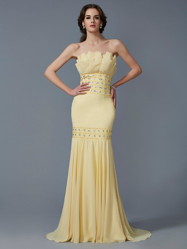 Chicregina Mermaid Strapless Sweep Train Chiffon Dress With Embroidery