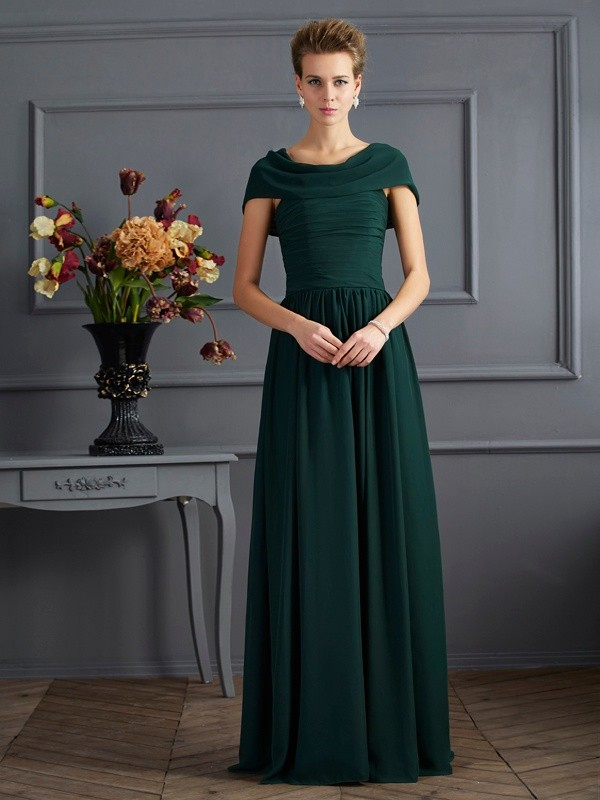 Chicregina A-Line Scoop Short Sleeves Chiffon Long Mother Of The Bride Dress With Pleats