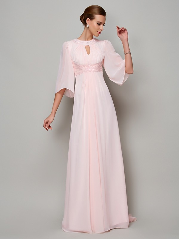 Chicregina A-Line 1/2 Sleeves High Neck Sweep Train Chiffon Dress With Embroidery