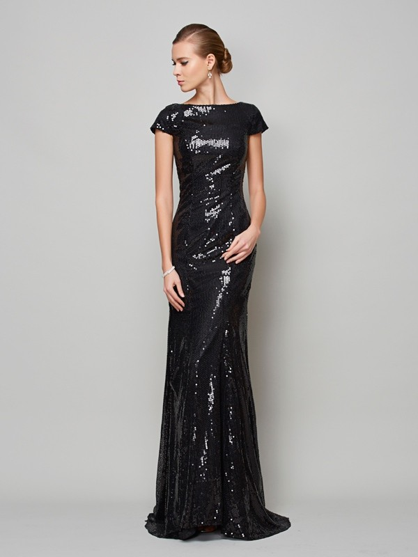Chicregina A-Line High Neck Short Sleeves Lace Sweep Train Dress With Beading