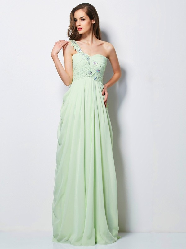 Chicregina A-Line One-Shoulder Long Chiffon Dress With Ruffles Applique