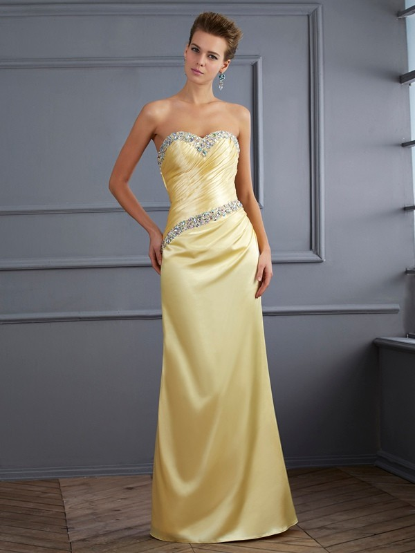 Chicregina Mermaid Sweetheart Long Elastic Woven Satin Dress With Ruched