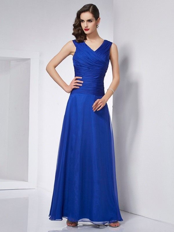 Chicregina A-Line V-neck Ankle-Length Chiffon Dress With Lace Pleats