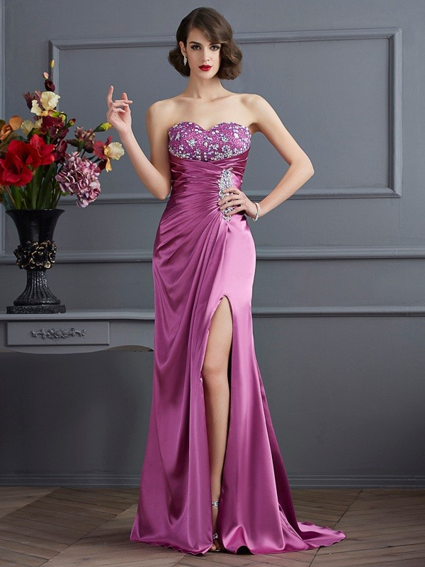 Chicregina Sheath Sweetheart Sweep Train Elastic Woven Satin Dress With Sash