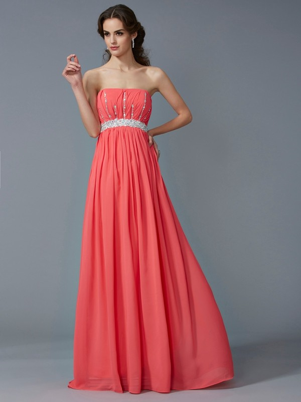 Chicregina Sexy A-Line Strapless Chiffon Long Dress With Embroidery