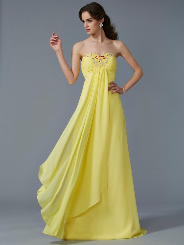 Chicregina A-Line Sweetheart Chiffon Sweep Train Dress With Sequin