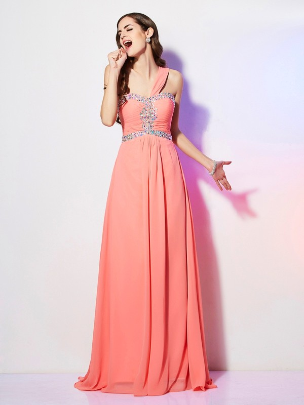 Chicregina A-Line One-Shoulder Sweep Train Chiffon Dress With Sequin