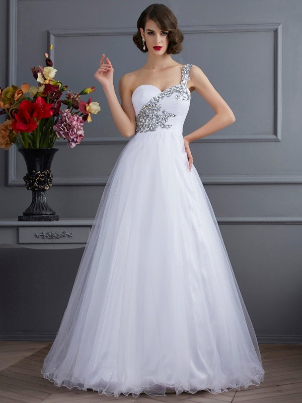 Chicregina Ball Gown One-Shoulder Long Elastic Woven Satin Dress With Beading