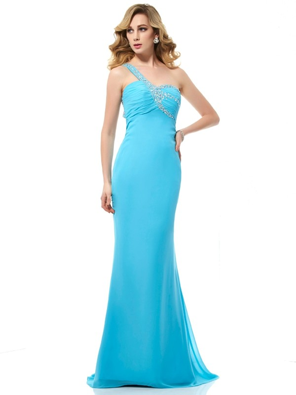Chicregina Mermaid Chiffon One-Shoulder Sweep Train Dress With Ruched