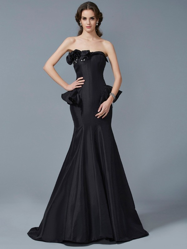 Chicregina Mermaid Strapless Sweep Train Taffeta Dress With Embroidery Ruffles
