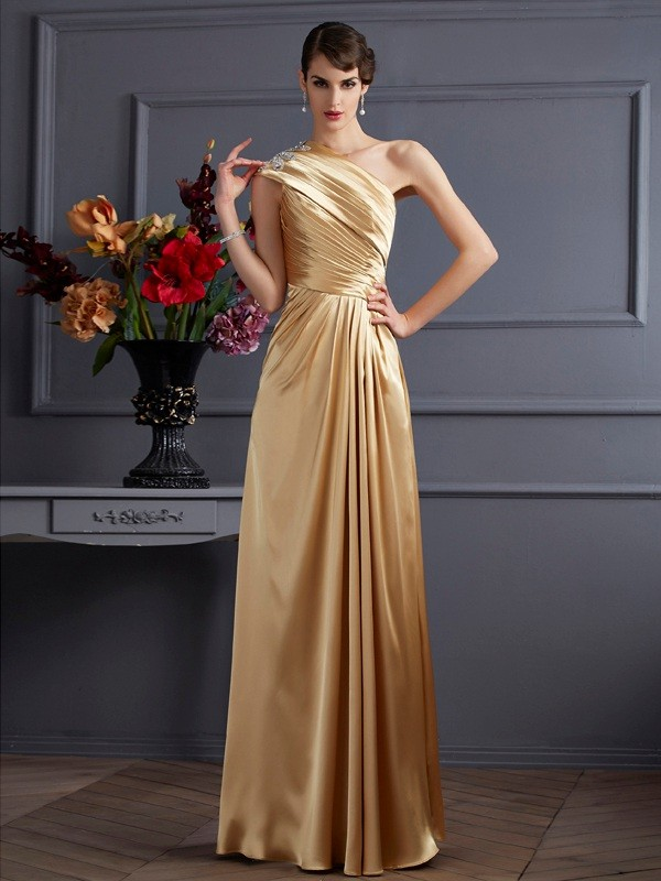 Chicregina A-Line One-Shoulder Elastic Woven Satin Long Dress With Ruffles