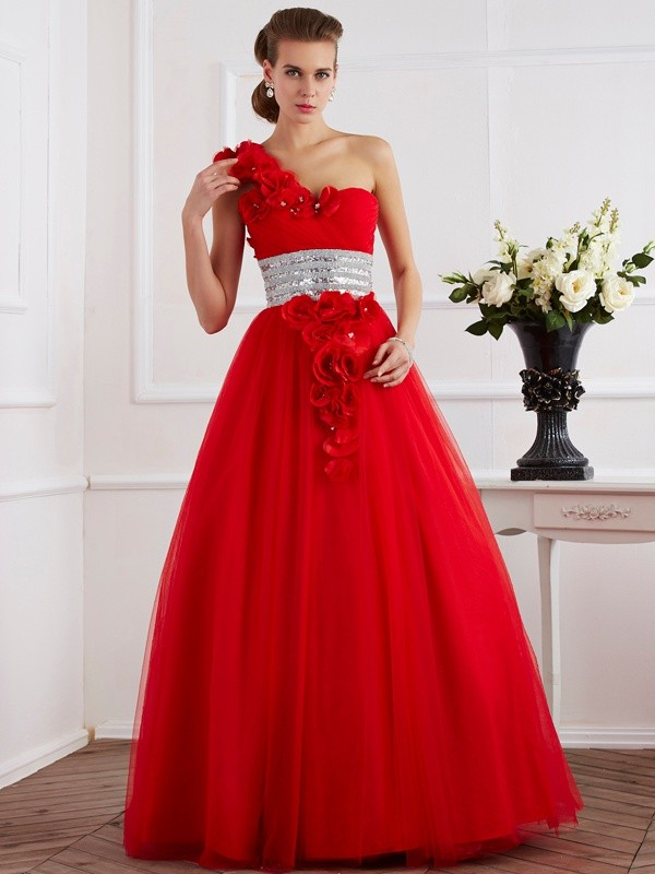 Chicregina Ball Gown One-Shoulder Hand-Made Flower Net Long Dress With Beading