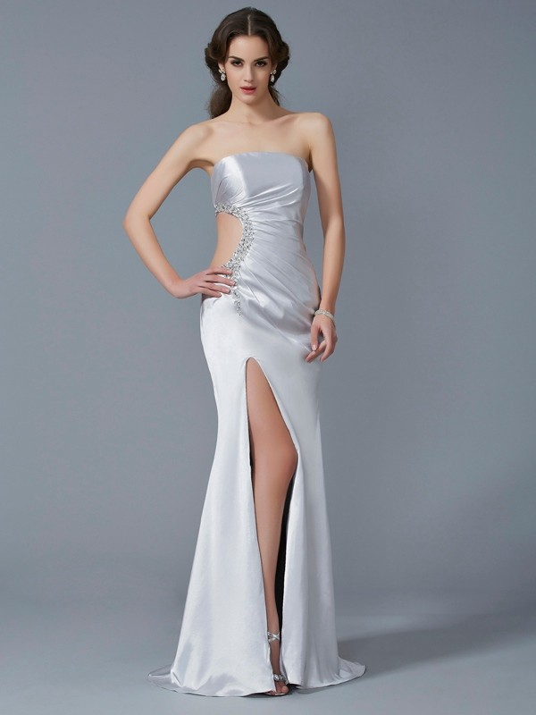 Chicregina Mermaid Strapless Elastic Woven Satin Sweep Train Dress With Rhinestone