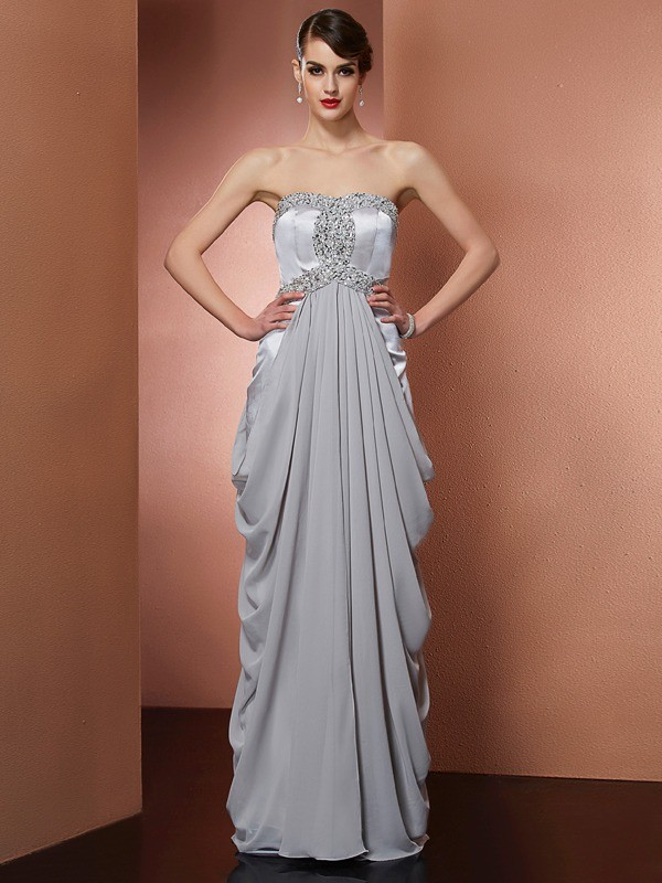 Chicregina Sheath Strapless Long Chiffon Dress With Ruffles