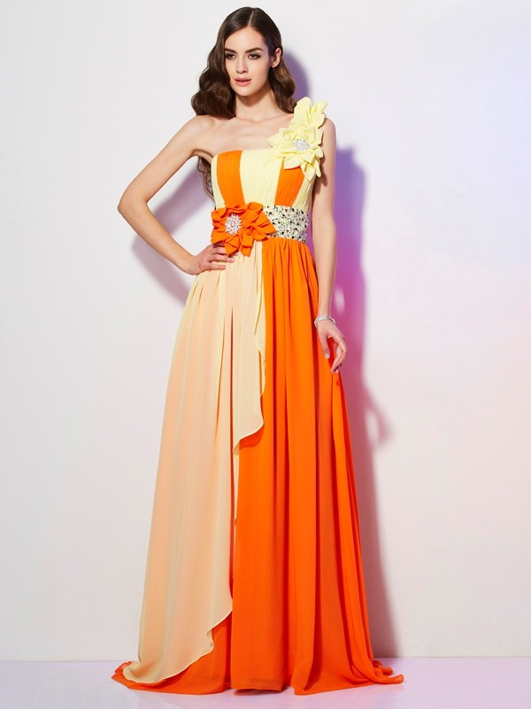 Chicregina Sexy A-Line One-Shoulder Sweep Train Chiffon Dress With Beading