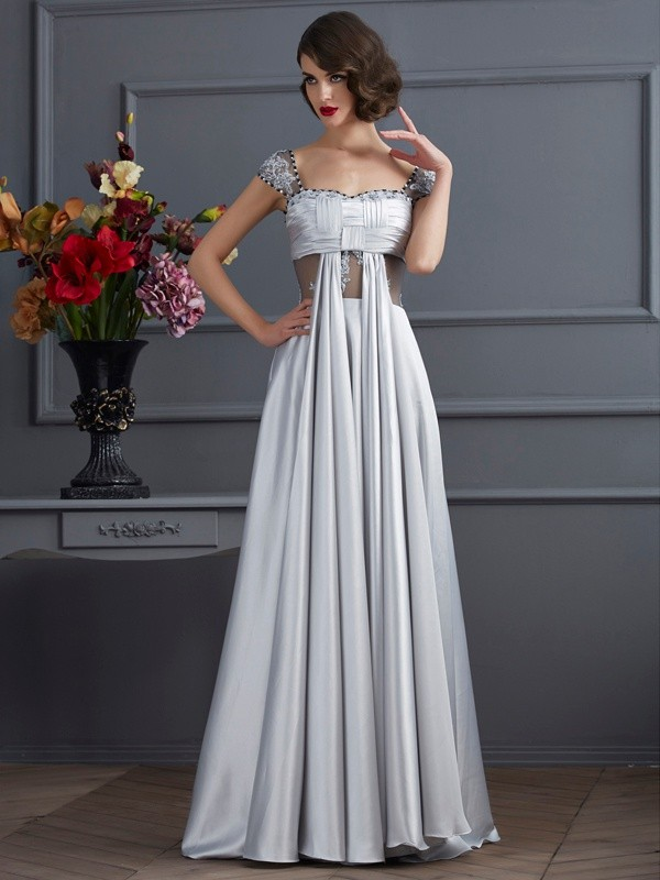 Chicregina A-Line Off-the-Shoulder Elastic Woven Satin Dress With Beading Pleats
