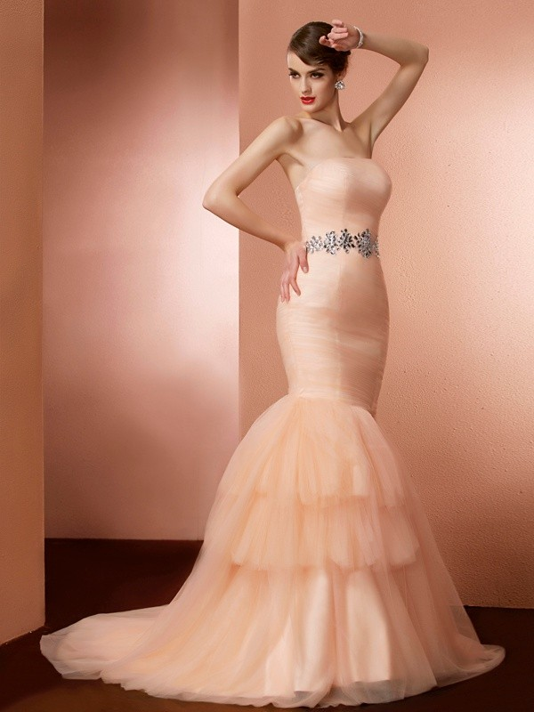 Chicregina Mermaid Strapless Sweep Train Net Dress With Ruffles