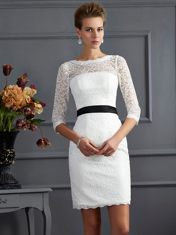 Chicregina Sheath Scoop 3/4 Sleeves Mini Lace Sash Mother Of The Bride Dress With Beading