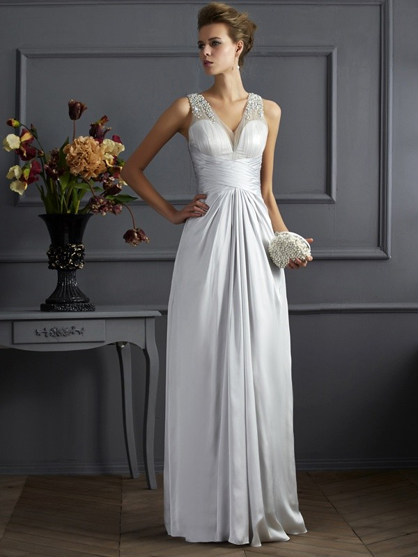 Chicregina A-Line Straps Silk like Satin Long Dress With Beading