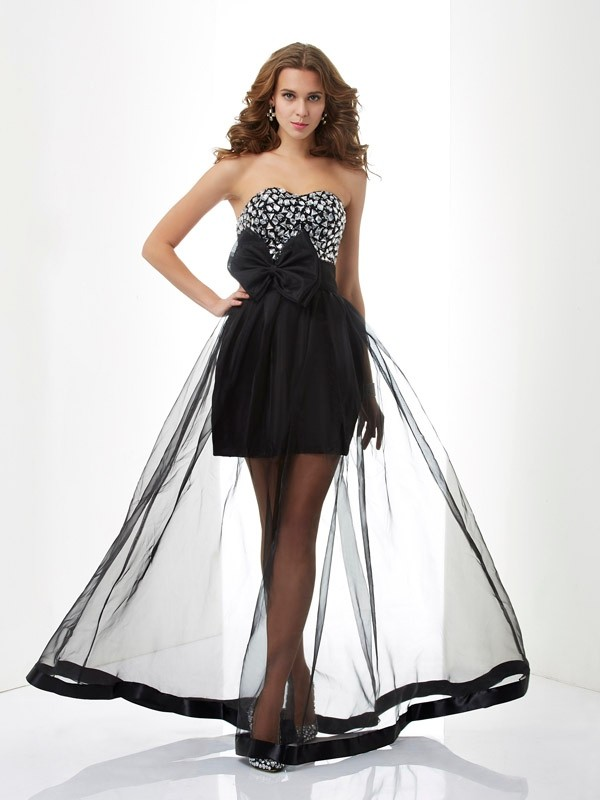 Chicregina A-Line Sweetheart Organza Long Dress With Ruffles