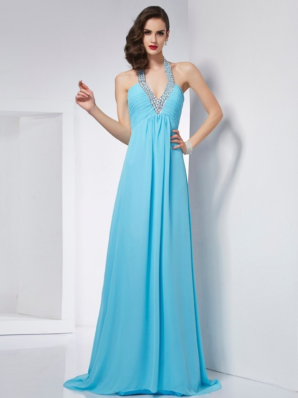 Chicregina A-Line Halter Chiffon Sweep Train Dress With Rhinestone