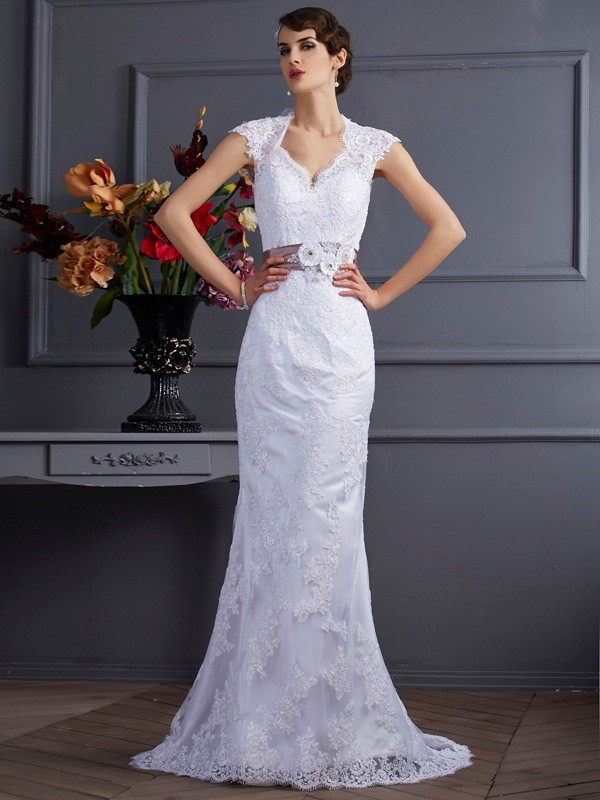Chicregina Mermaid Satin Applique Sweep Train Wedding Dress With Pleats
