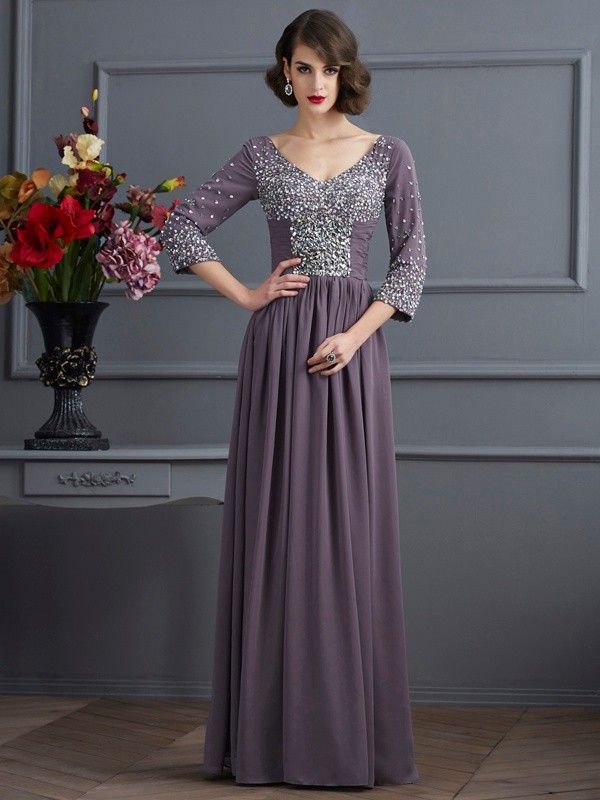 Chicregina A-Line V-neck 3/4 Sleeves Long Chiffon Dress With Applique