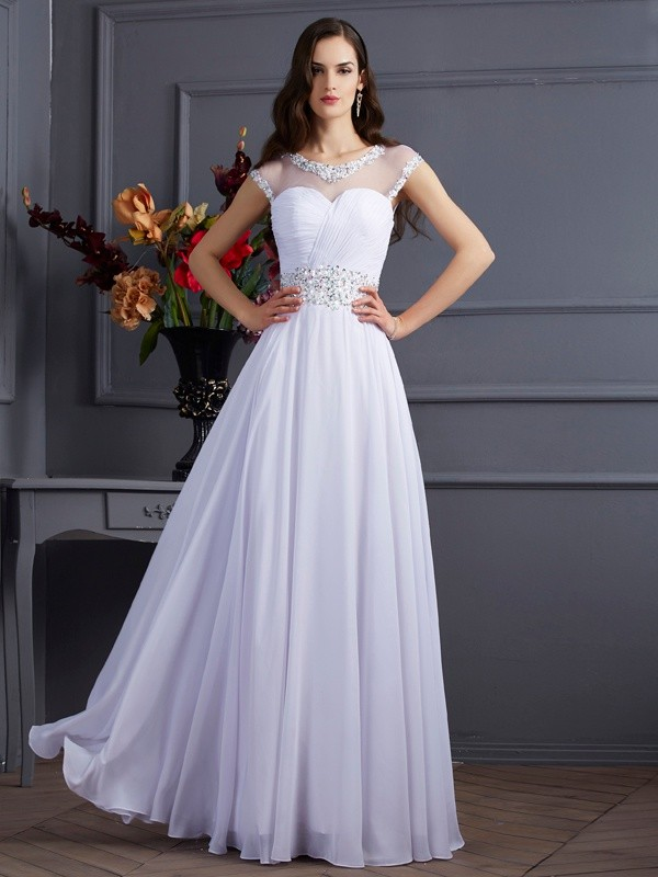 Chicregina A-Line Chiffon Bateau Short Sleeves Long Dress With Rhinestone
