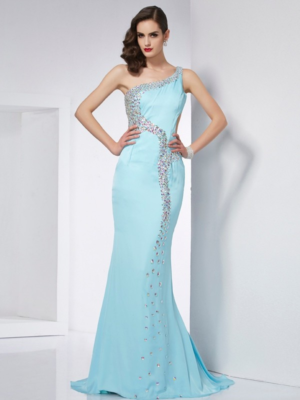 Chicregina Mermaid One-Shoulder Sweep Train Chiffon Dress With Beading