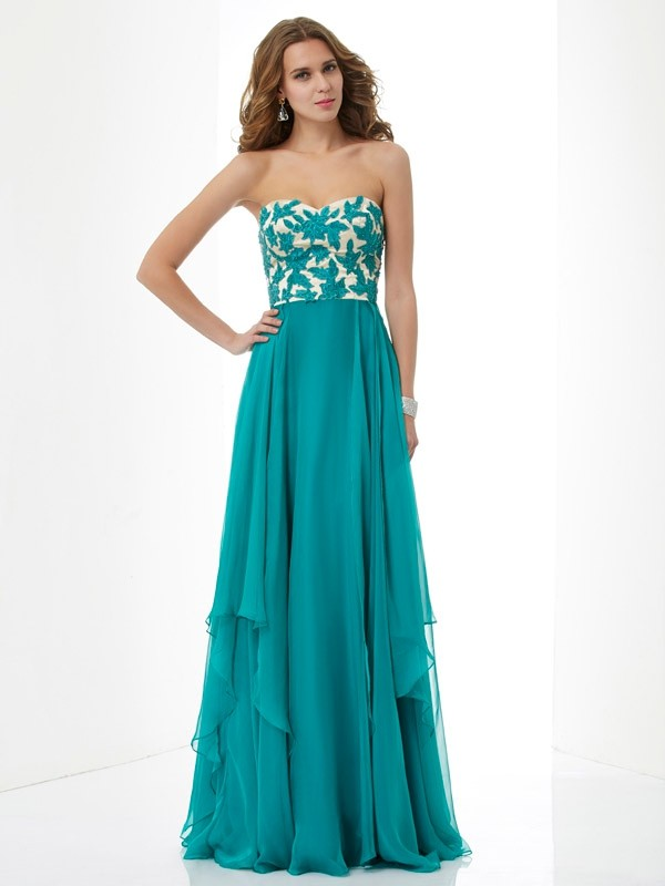 Chicregina A-Line Sweetheart Applique Long Chiffon Dress With Sequin